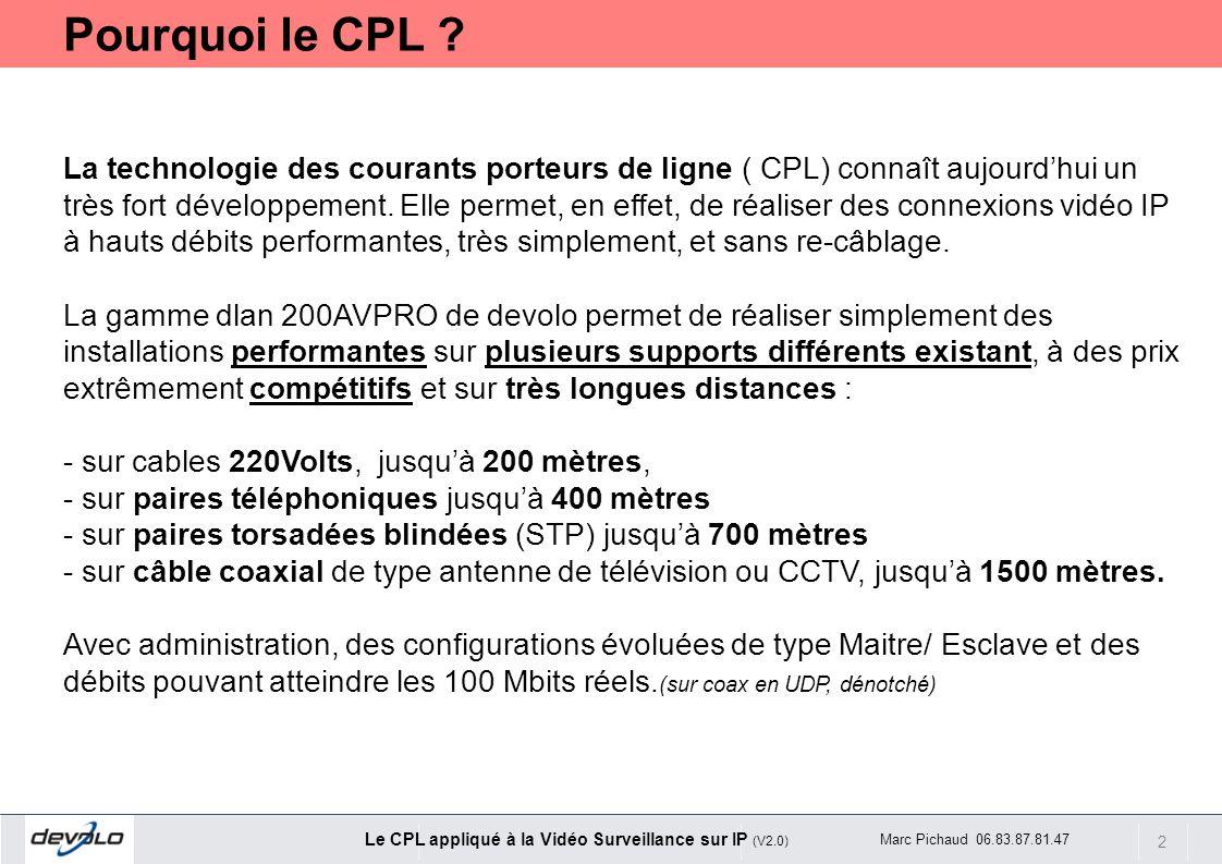 2 Le CPL appliqué à la Vidéo Surveillance sur IP (V2.0) Marc Pichaud 06.83.87.81.47 La technologie des courants porteurs de ligne ( CPL) connaît aujou