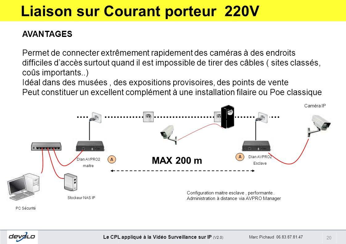 20 Le CPL appliqué à la Vidéo Surveillance sur IP (V2.0) Marc Pichaud 06.83.87.81.47 A A PC Sécurité Stockeur NAS IP Dlan AVPRO2 maitre Dlan AVPRO2 Es