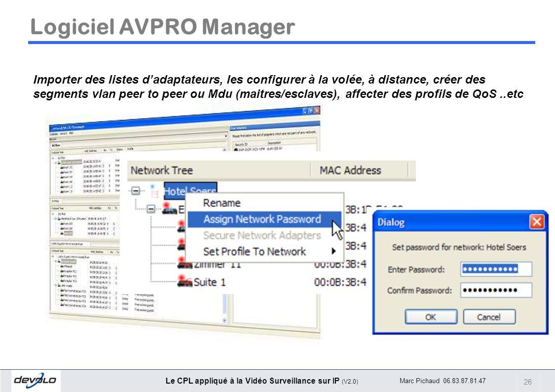 26 Le CPL appliqué à la Vidéo Surveillance sur IP (V2.0) Marc Pichaud 06.83.87.81.47 Logiciel AVPRO Manager Importer des listes dadaptateurs, les conf
