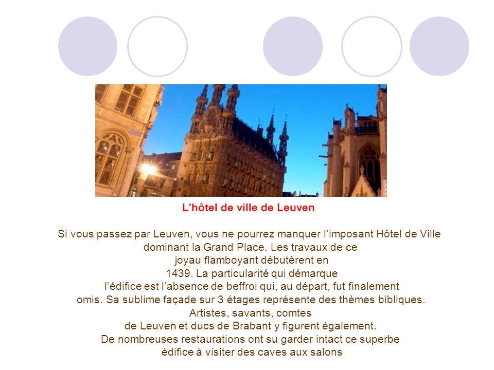 L hôtel de ville de Leuven Si vous passez par Leuven, vous ne pourrez manquer limposant Hôtel de Ville dominant la Grand Place.