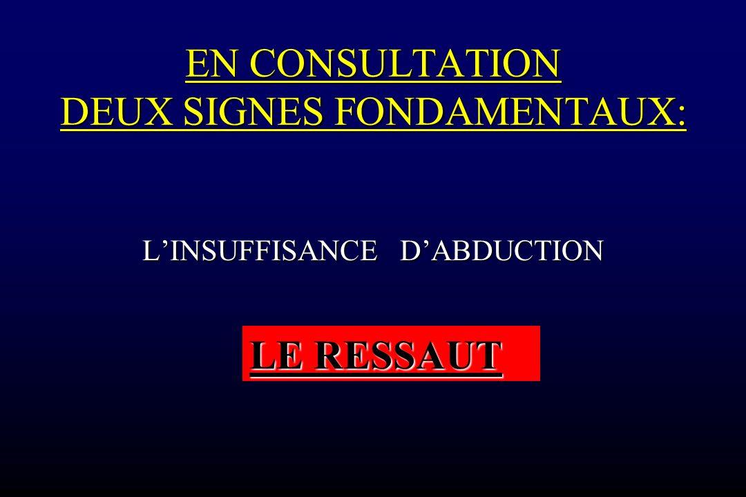 EN CONSULTATION DEUX SIGNES FONDAMENTAUX: LINSUFFISANCE DABDUCTION LE RESSAUT