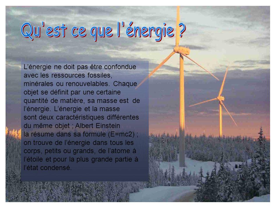 Lénergie ne doit pas être confondue avec les ressources fossiles, minérales ou renouvelables. Chaque objet se définit par une certaine quantité de mat