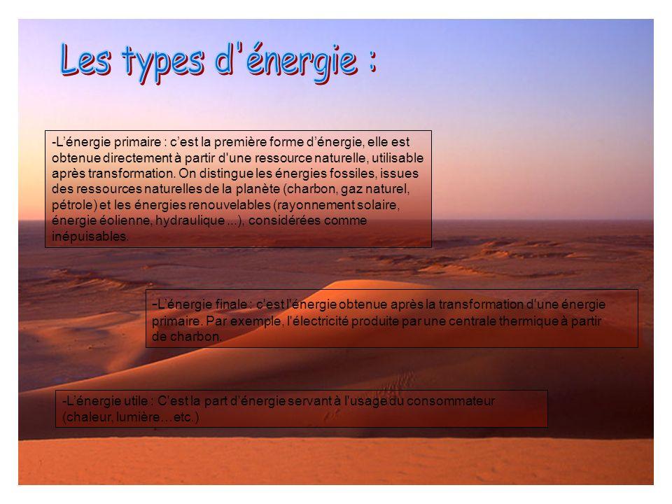 -Lénergie primaire : cest la première forme dénergie, elle est obtenue directement à partir d'une ressource naturelle, utilisable après transformation