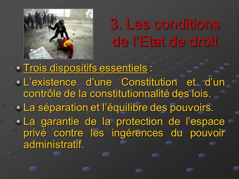 3. Les conditions de lEtat de droit Trois dispositifs essentiels : Lexistence dune Constitution et dun contrôle de la constitutionnalité des lois. La