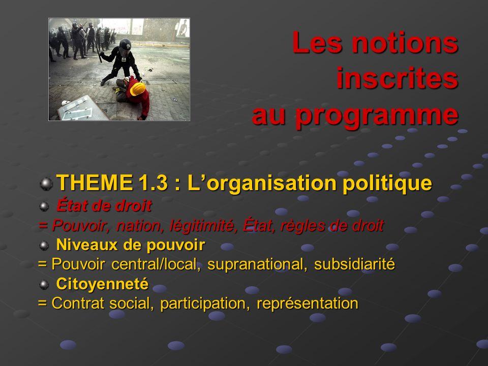 Les notions inscrites au programme THEME 1.3 : Lorganisation politique État de droit = Pouvoir, nation, légitimité, État, règles de droit Niveaux de p