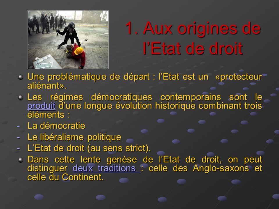 1. Aux origines de lEtat de droit Une problématique de départ : lEtat est un «protecteur aliénant». Les régimes démocratiques contemporains sont le pr