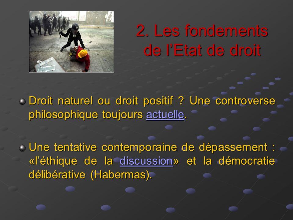 2. Les fondements de lEtat de droit Droit naturel ou droit positif ? Une controverse philosophique toujours actuelle. actuelle Une tentative contempor