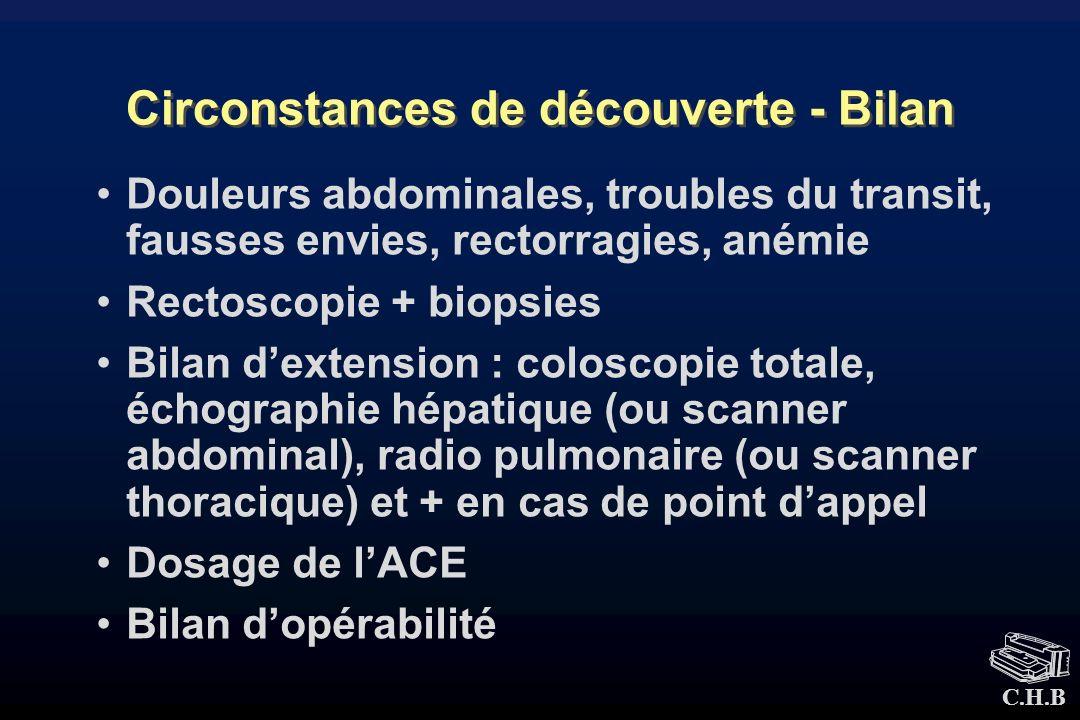 C.H.B Circonstances de découverte - Bilan Douleurs abdominales, troubles du transit, fausses envies, rectorragies, anémie Rectoscopie + biopsies Bilan
