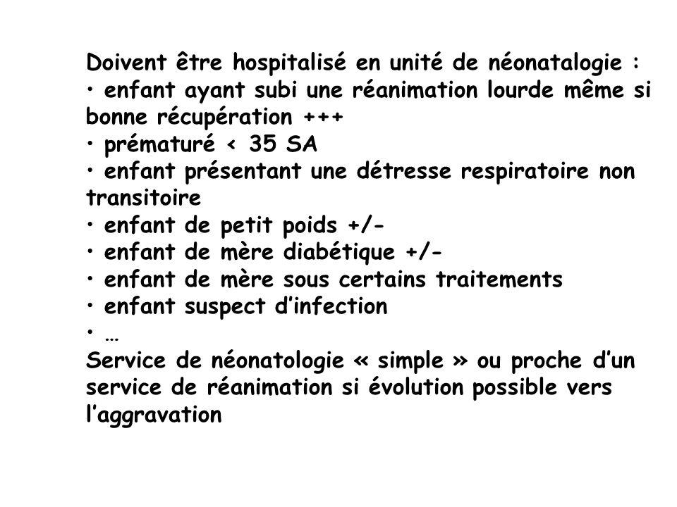Doivent être hospitalisé en unité de néonatalogie : enfant ayant subi une réanimation lourde même si bonne récupération +++ prématuré < 35 SA enfant p