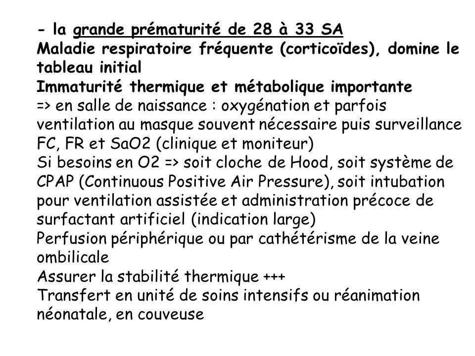 - la grande prématurité de 28 à 33 SA Maladie respiratoire fréquente (corticoïdes), domine le tableau initial Immaturité thermique et métabolique impo
