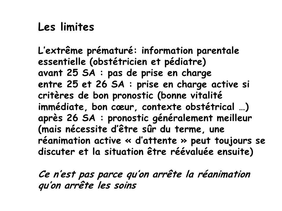Les limites Lextrême prématuré: information parentale essentielle (obstétricien et pédiatre) avant 25 SA : pas de prise en charge entre 25 et 26 SA :
