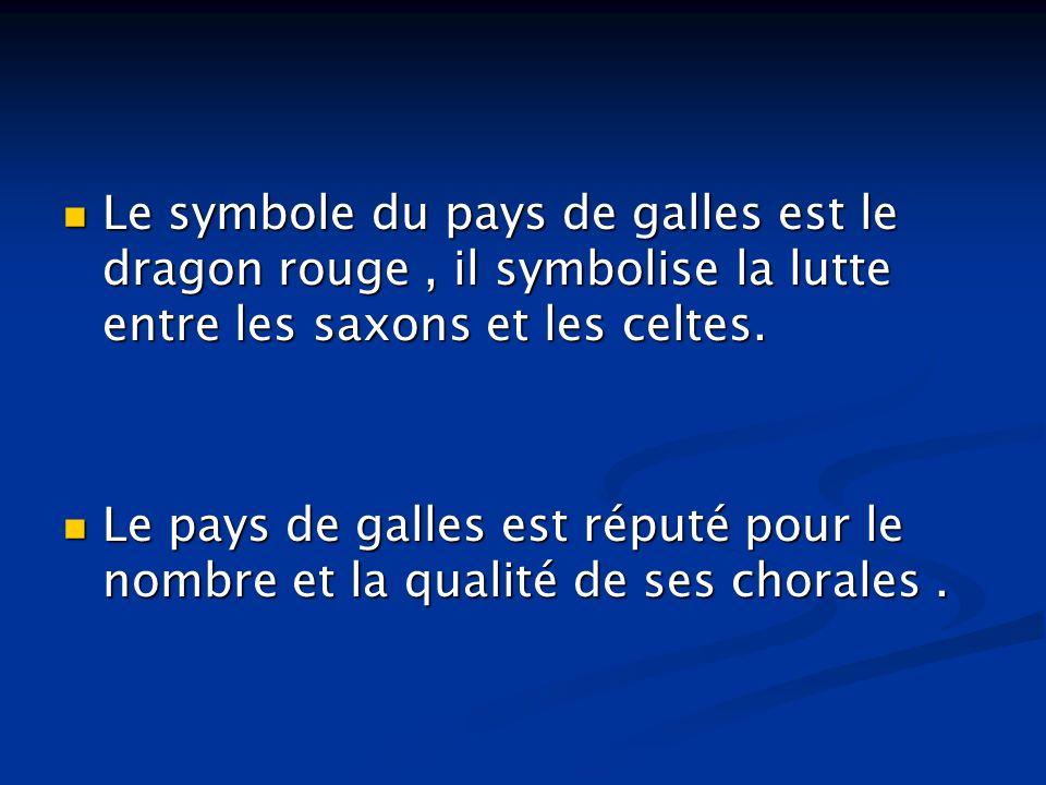 Le symbole du pays de galles est le dragon rouge, il symbolise la lutte entre les saxons et les celtes. Le symbole du pays de galles est le dragon rou