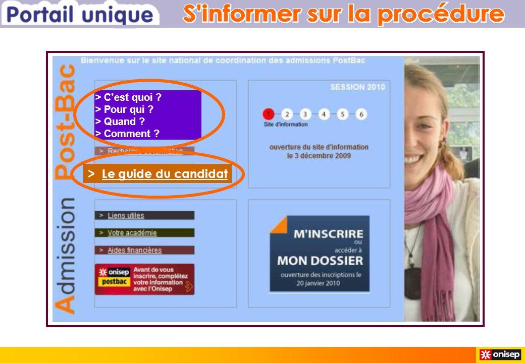 > Le guide du candidat > Cest quoi > Pour qui > Quand > Comment