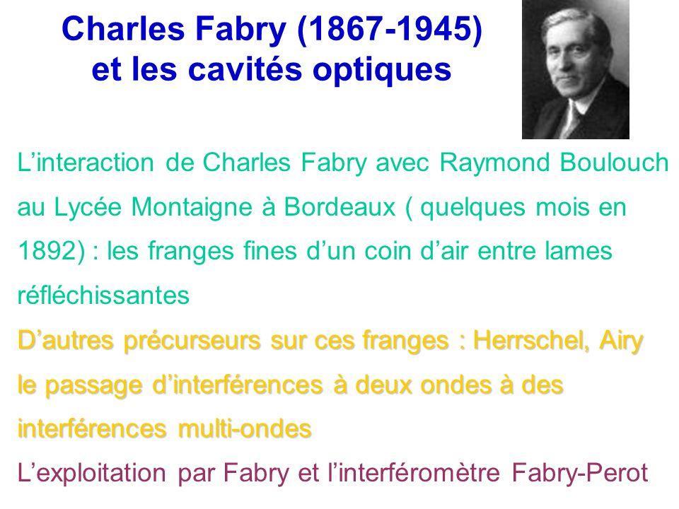 Charles Fabry (1867-1945) et les cavités optiques Dautres précurseurs sur ces franges : Herrschel, Airy le passage dinterférences à deux ondes à des i