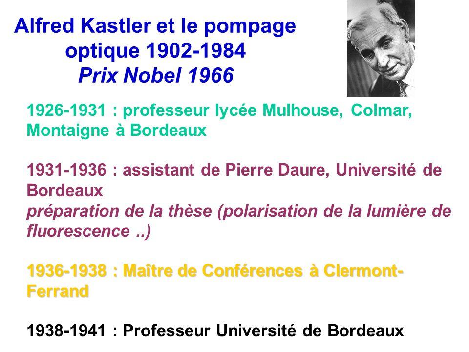 Alfred Kastler et le pompage optique 1902-1984 Prix Nobel 1966 1926-1931 : professeur lycée Mulhouse, Colmar, Montaigne à Bordeaux 1931-1936 : assista