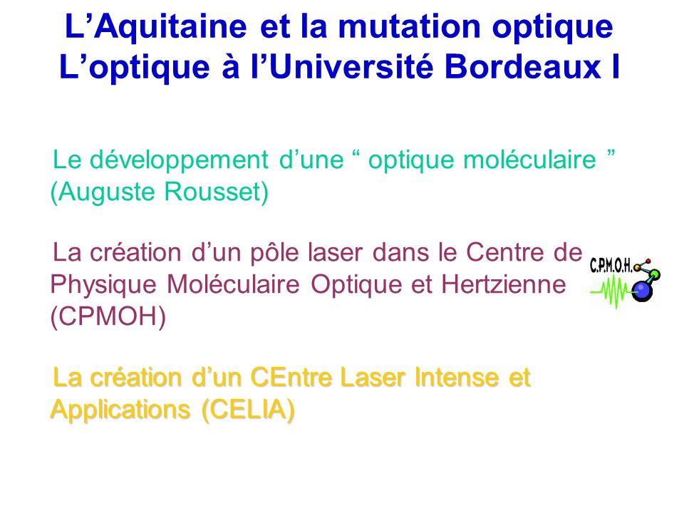 LAquitaine et la mutation optique Loptique à lUniversité Bordeaux I Le développement dune optique moléculaire (Auguste Rousset) La création dun pôle l