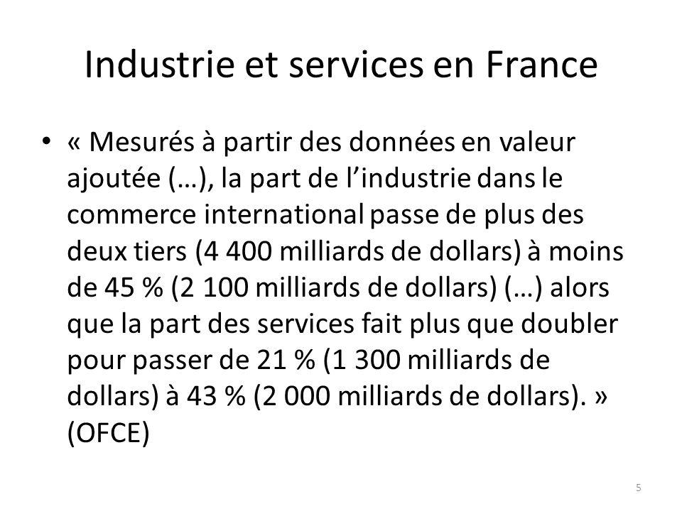 Industrie et services en France « Mesurés à partir des données en valeur ajoutée (…), la part de lindustrie dans le commerce international passe de pl