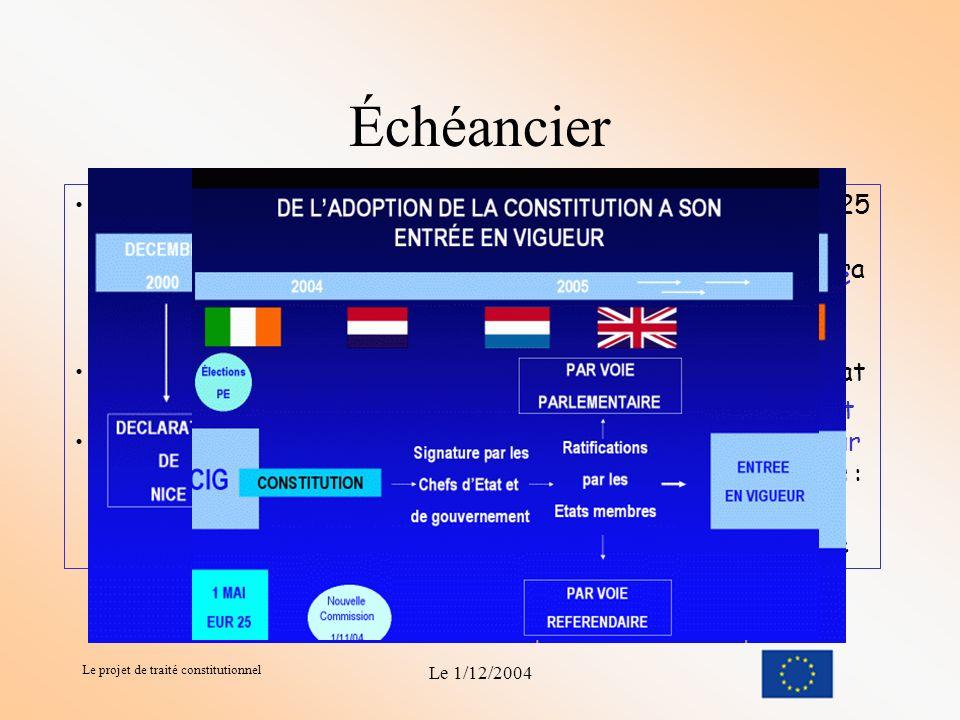 Le projet de traité constitutionnel Le 1/12/2004 Le projet de traité constitutionneltraité constitutionnel Union Européenne Dans quelle Europe nous pr