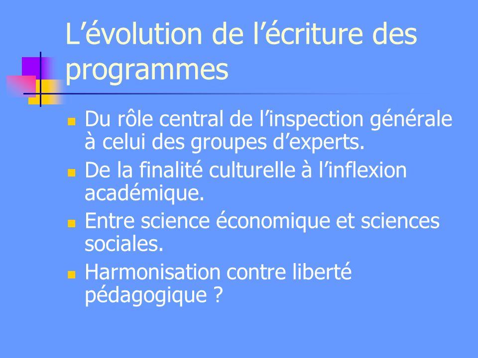 Lévolution de lécriture des programmes Du rôle central de linspection générale à celui des groupes dexperts. De la finalité culturelle à linflexion ac