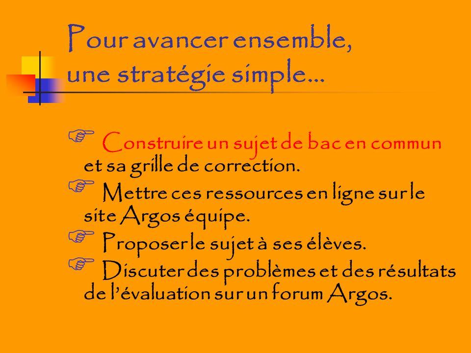Pour avancer ensemble, une stratégie simple… Construire un sujet de bac en commun et sa grille de correction. Mettre ces ressources en ligne sur le si