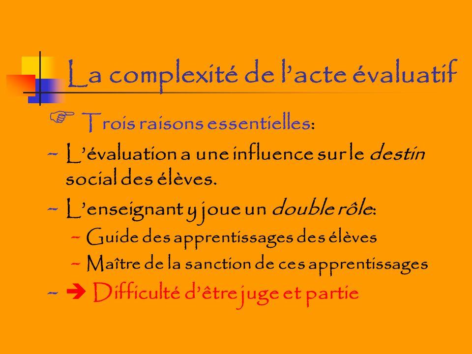 La complexité de lacte évaluatif Trois raisons essentielles: - Lévaluation a une influence sur le destin social des élèves.
