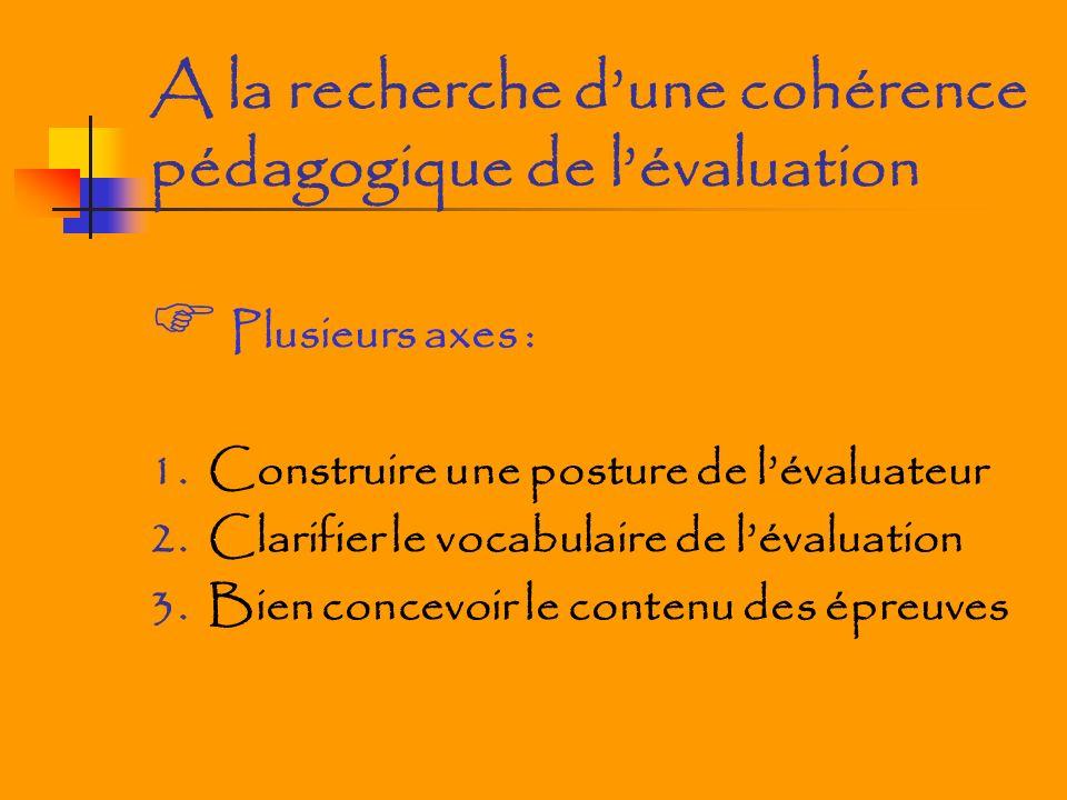 A la recherche dune cohérence pédagogique de lévaluation Plusieurs axes : 1. Construire une posture de lévaluateur 2. Clarifier le vocabulaire de léva