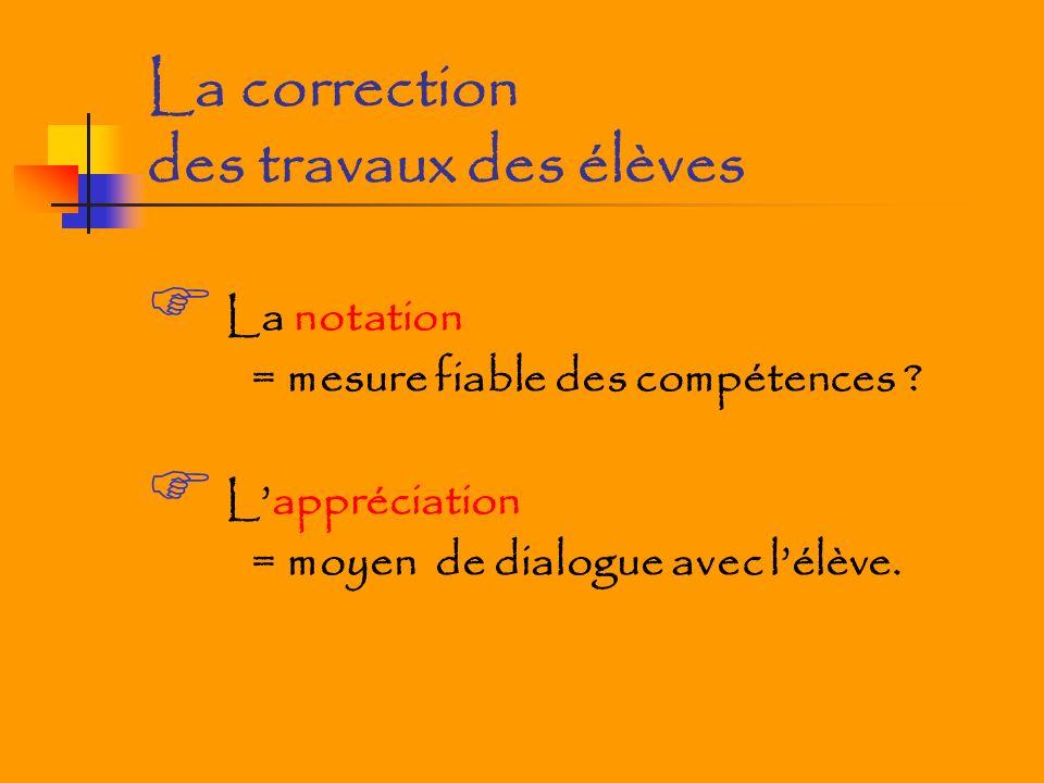 La correction des travaux des élèves La notation = mesure fiable des compétences ? Lappréciation = moyen de dialogue avec lélève.