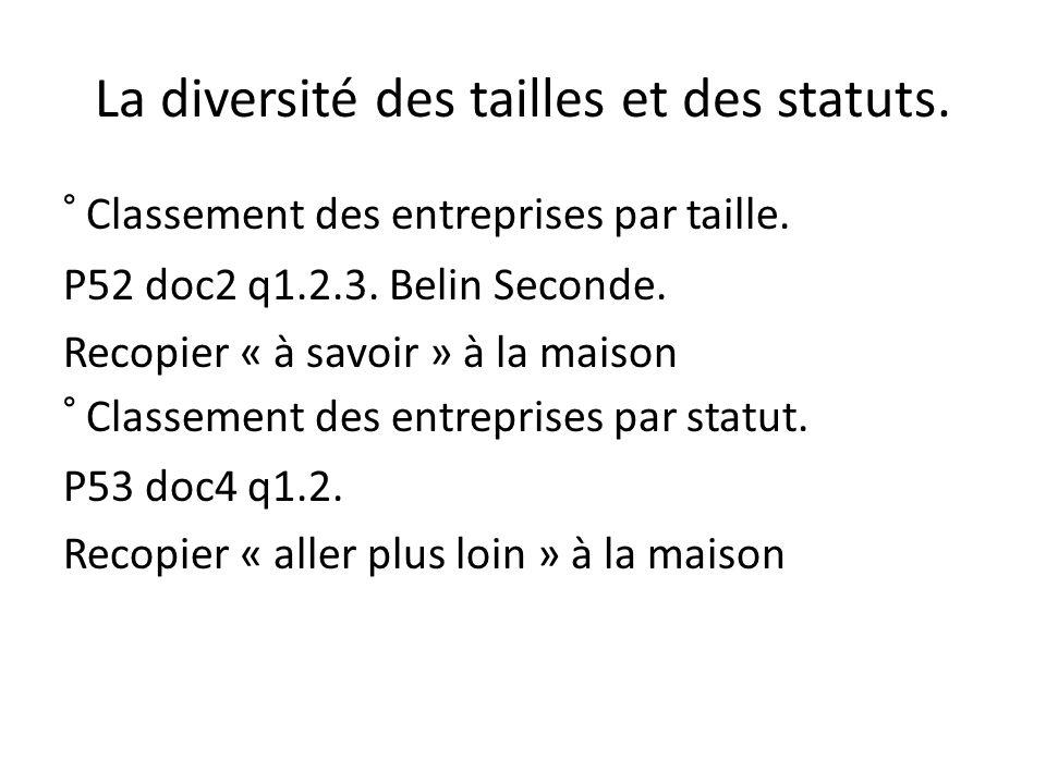 La diversité des tailles et des statuts. ° Classement des entreprises par taille.