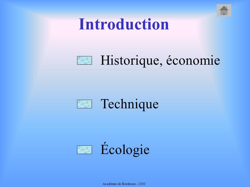 Introduction Historique, économie Écologie Technique Académie de Bordeaux - 2000