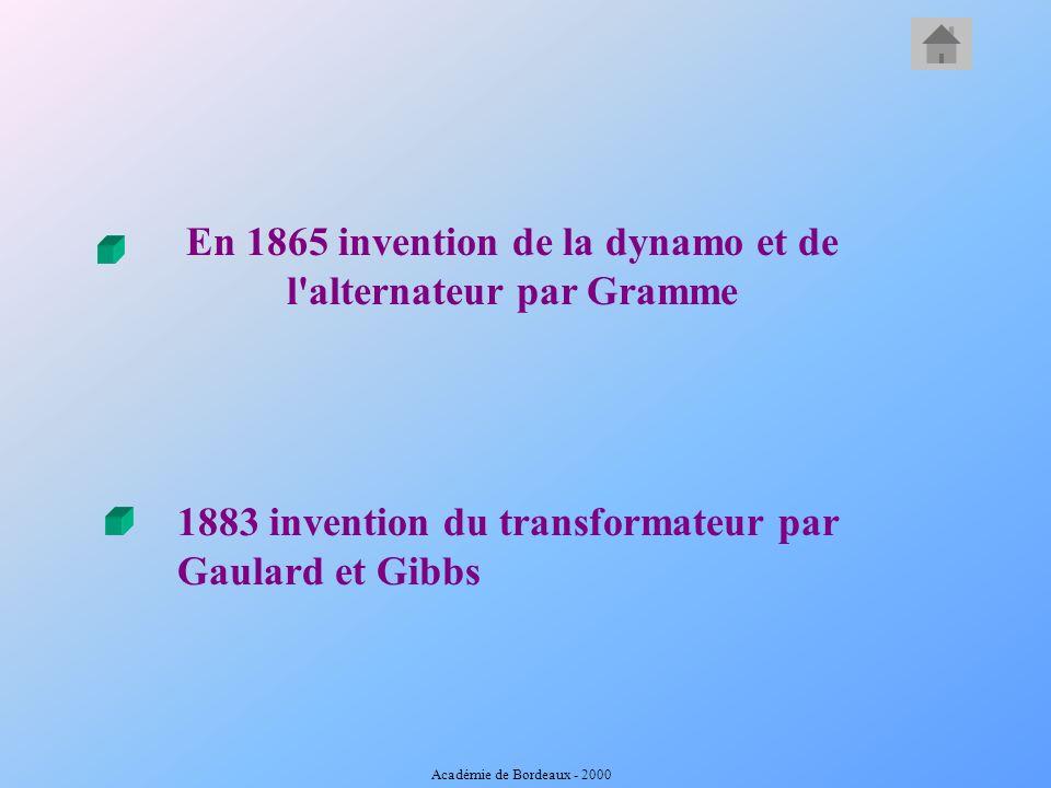 En 1865 invention de la dynamo et de l alternateur par Gramme 1883 invention du transformateur par Gaulard et Gibbs Académie de Bordeaux - 2000