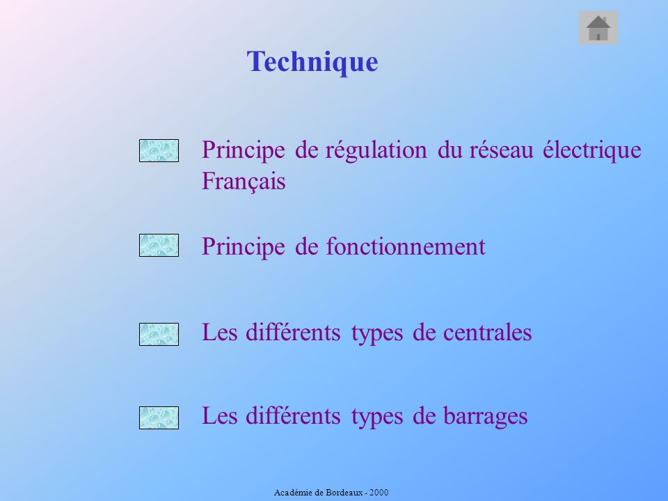 Principe de fonctionnement Principe de régulation du réseau électrique Français Les différents types de centrales Technique Les différents types de barrages Académie de Bordeaux - 2000