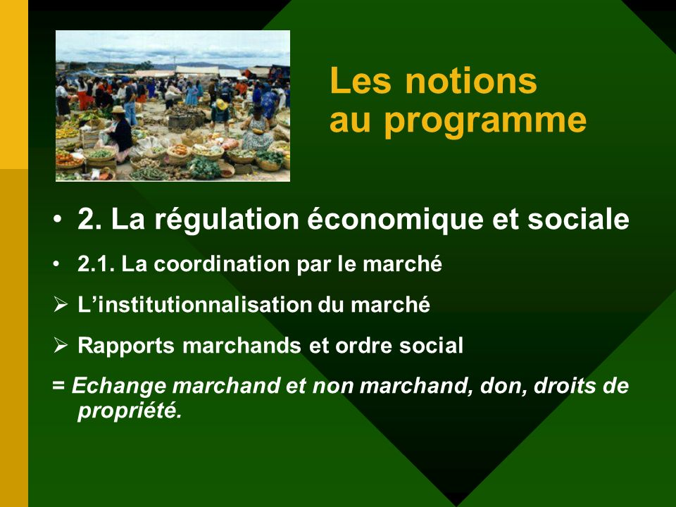 Les notions au programme 2. La régulation économique et sociale 2.1.