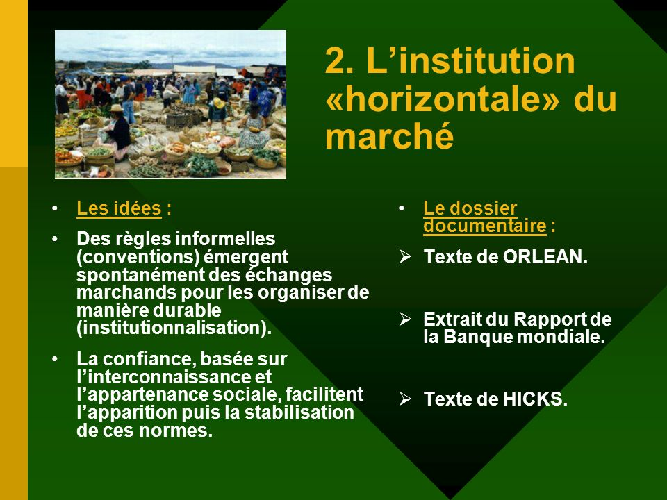 2. Linstitution «horizontale» du marché Les idées : Des règles informelles (conventions) émergent spontanément des échanges marchands pour les organis