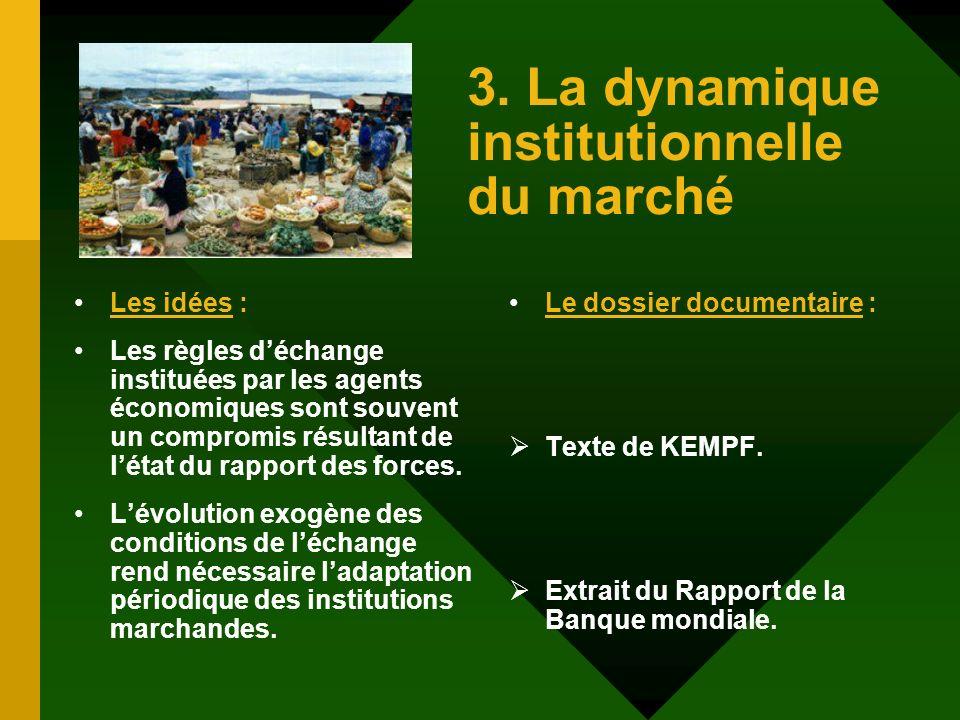3. La dynamique institutionnelle du marché Les idées : Les règles déchange instituées par les agents économiques sont souvent un compromis résultant d