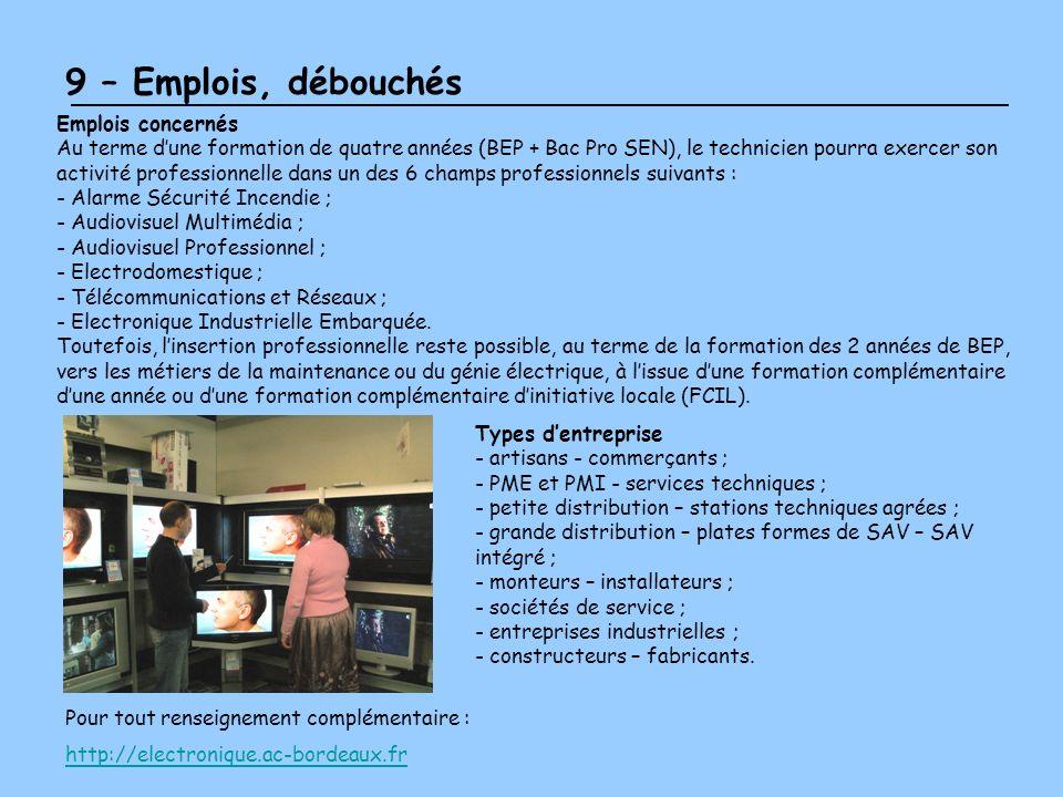 9 – Emplois, débouchés Emplois concernés Au terme dune formation de quatre années (BEP + Bac Pro SEN), le technicien pourra exercer son activité profe