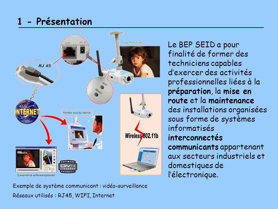 2 – Les champs professionnels B.E.P S.E.I.D Audiovisuel Multimédia Alarme Sécurité Incendie Electrodomestique Télécommunications et Réseaux Electronique Industrielle Embarquée