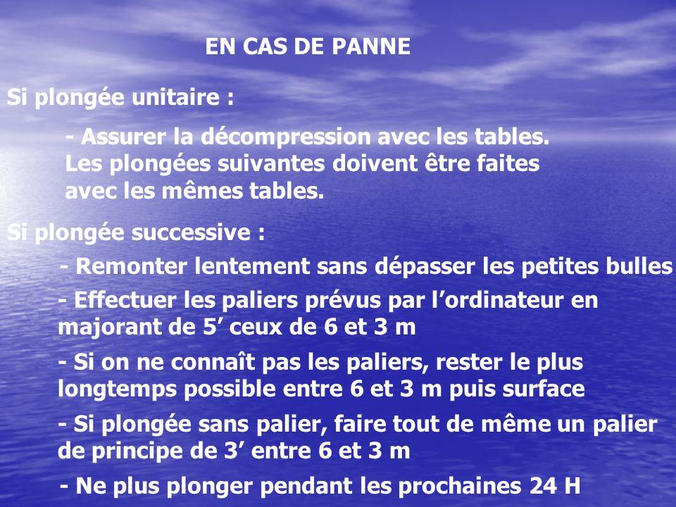 EN CAS DE PANNE Si plongée unitaire : - Assurer la décompression avec les tables. Les plongées suivantes doivent être faites avec les mêmes tables. Si