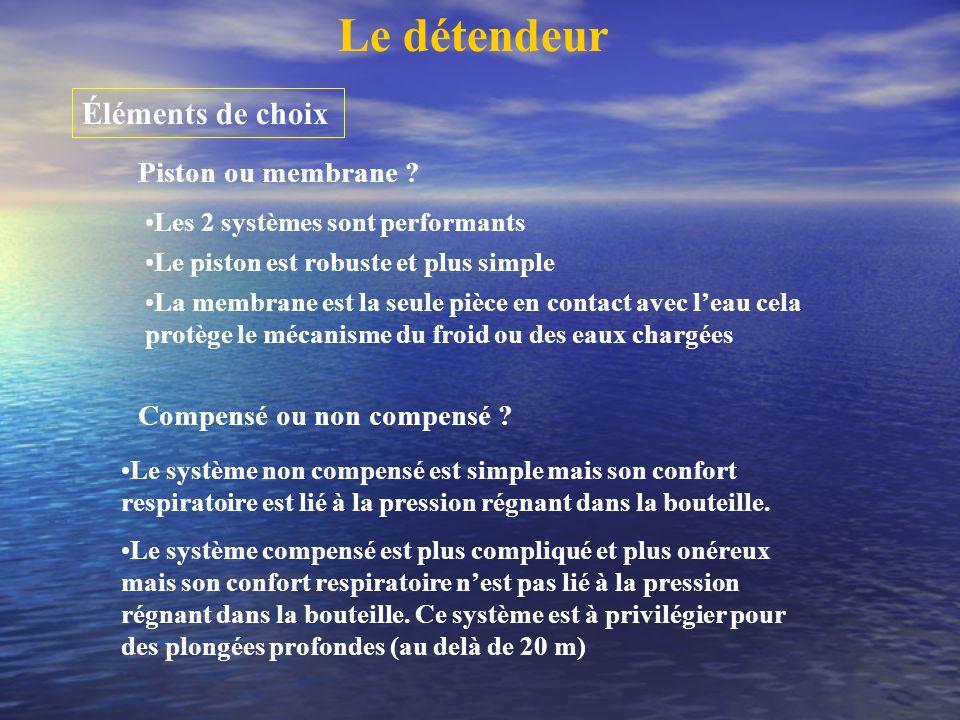 Le détendeur Éléments de choix Piston ou membrane ? Les 2 systèmes sont performants Le piston est robuste et plus simple La membrane est la seule pièc