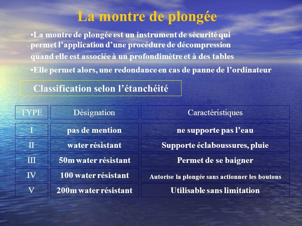 La montre de plongée La montre de plongée est un instrument de sécurité qui permet lapplication dune procédure de décompression quand elle est associé