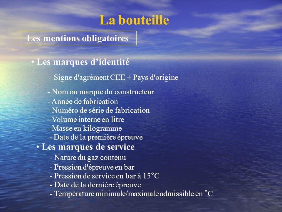 La bouteille Les mentions obligatoires Les marques didentité - Signe d'agrément CEE + Pays d'origine - Nom ou marque du constructeur - Année de fabric