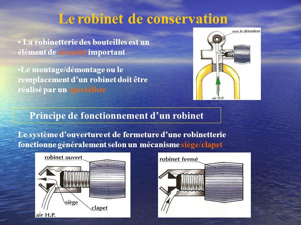 Le robinet de conservation La robinetterie des bouteilles est un élément de sécurité important Le montage/démontage ou le remplacement dun robinet doi