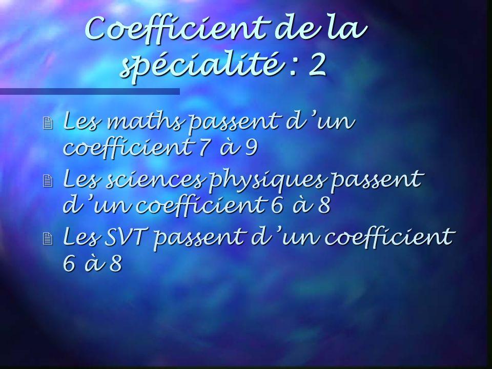 Coefficient de la spécialité : 2 2 Les maths passent d un coefficient 7 à 9 2 Les sciences physiques passent d un coefficient 6 à 8 Les SVT passent d un coefficient 6 à 8 Les SVT passent d un coefficient 6 à 8