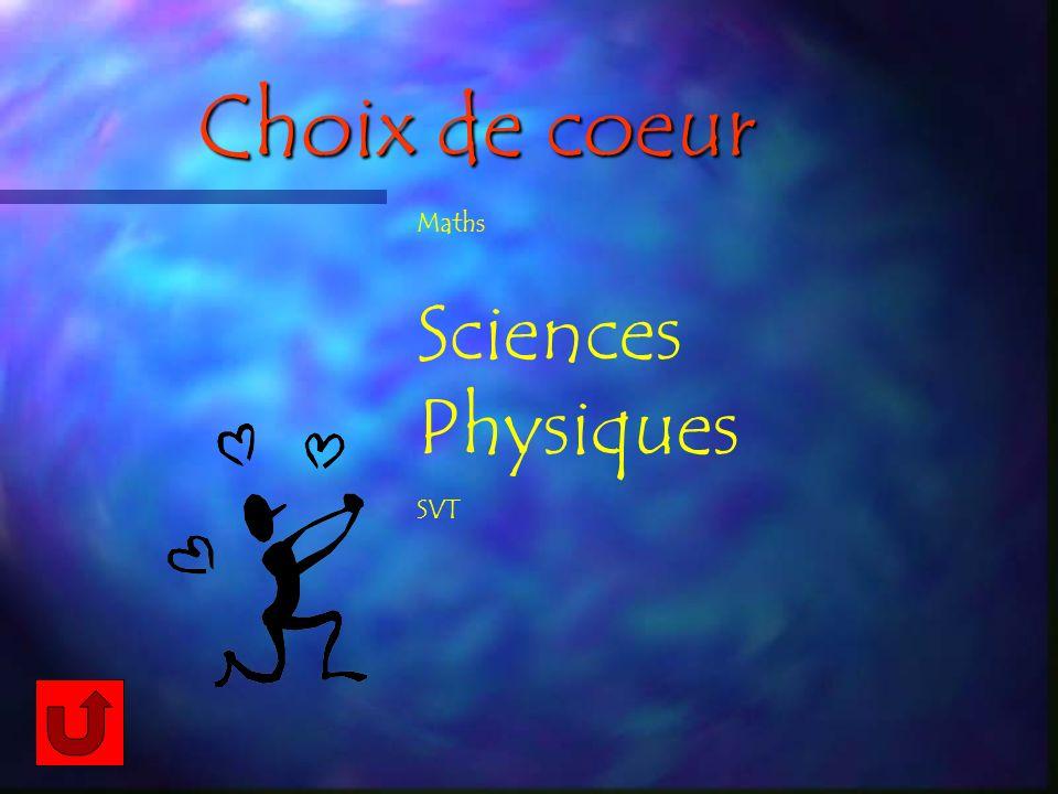 Choix de coeur Maths Sciences Physiques SVT