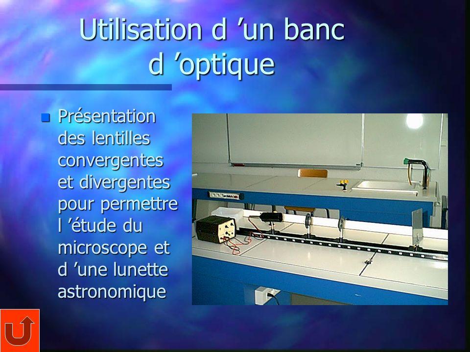 Utilisation d un banc d optique n Présentation des lentilles convergentes et divergentes pour permettre l étude du microscope et d une lunette astronomique