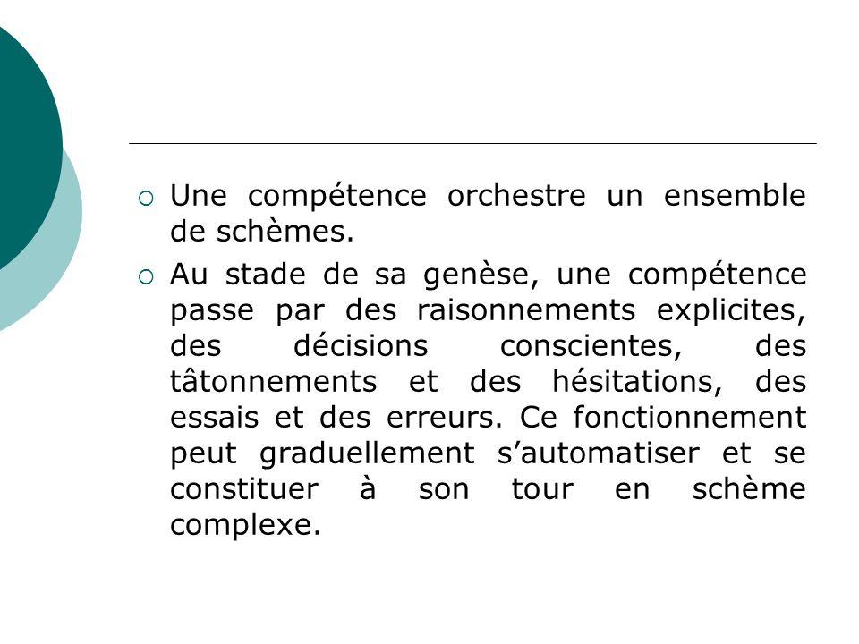 Une compétence orchestre un ensemble de schèmes.