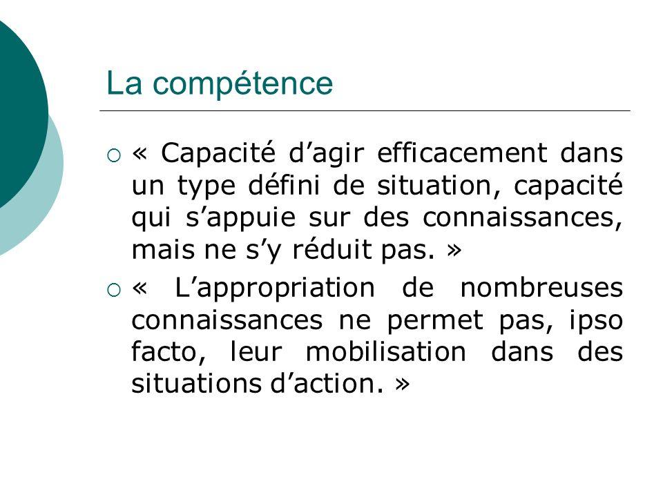 La compétence « Capacité dagir efficacement dans un type défini de situation, capacité qui sappuie sur des connaissances, mais ne sy réduit pas.
