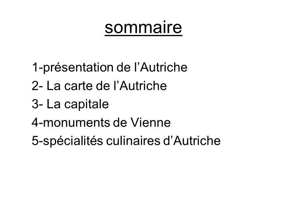 sommaire 1-présentation de lAutriche 2- La carte de lAutriche 3- La capitale 4-monuments de Vienne 5-spécialités culinaires dAutriche