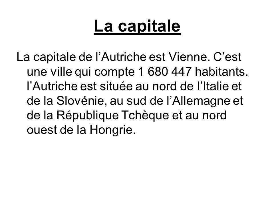La capitale La capitale de lAutriche est Vienne. Cest une ville qui compte 1 680 447 habitants. lAutriche est située au nord de lItalie et de la Slové