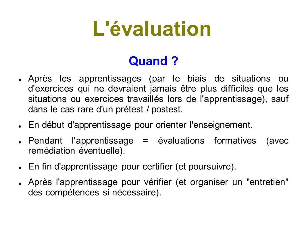 L évaluation Qu évalue-t-on .