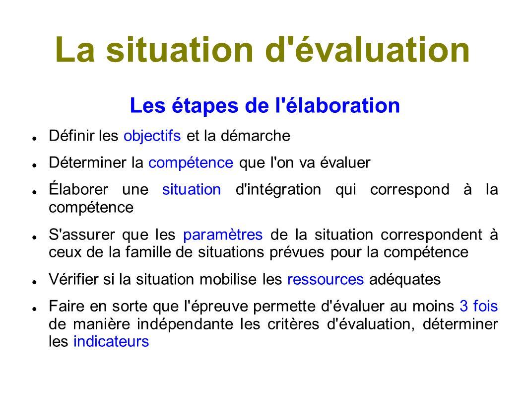 Les familles de situations C est l ensemble des situations qui présentent des caractéristiques communes et qui correspondent à une compétence donnée.